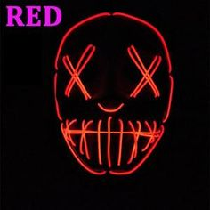 Zhenlong Colorful EL Wire Halloween Terrified Mask Flashing LED Neon light Mask For Wedding Masquerade Birthday Party Decoration – Garden & Home Halloween Club, Halloween Rave, Halloween Costumes, Club Lighting, Neon Lighting, Flash Cosplay, Anonymous Mask, Light Mask, Mask Party