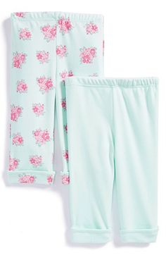 Free shipping and returns on Little Me 'Posies' Cotton Pants (Set of 2) (Baby Girls) at Nordstrom.com. Soft cotton pants are crafted with an elastic waistband and rolled cuffs for comfortable, play-ready style.