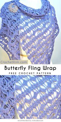 Butterfly Fling Wrap Free Crochet Pattern  #crochetscarf #crochetwrap #crochetfreepatterns #crochetshawl #freecrochetpatternsforshawl