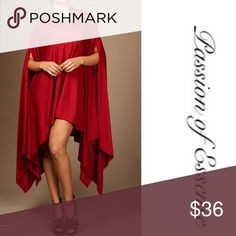 Loose Turtleneck Asymmetrical Top/Mini Dress Perfect for the holiday season as a top or Dress 95% Rayon 5% Spandex Colors are Deep Red Dresses Mini