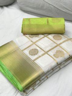 White with Light Green Border Banarasi Silk Saree