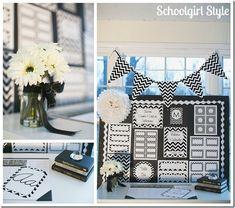 black white chevron classroom organization by Schoolgirl Style www.schoolgirlstyle.com