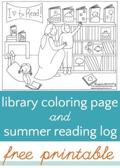 Library coloring page, free printable. Plus a free summer reading log.