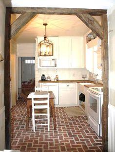 Wimer's Mill brick tile kitchen floor, in the Marietta color mix.