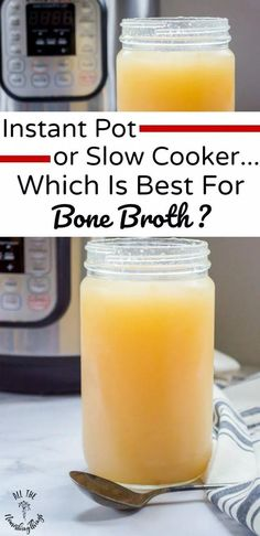 """The Instant Pot or slow cooker. which is BEST for bone broth? What are the pros and cons of each for making nourishing broths that """"gel"""" when cooled? Learn which is my favorite and why! Paleo Soup, Healthy Soup Recipes, Detox Recipes, Real Food Recipes, Yummy Recipes, Instant Pot, Making Bone Broth, Crock Pot Soup, Detox Soup"""