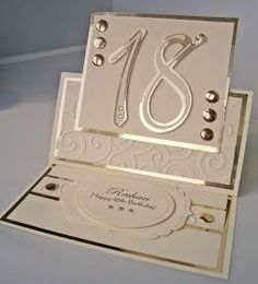 Birthday Card Ideas : Julies Inkspot: Birthday Easel Card Use for wedding I think it looks elegant. Special Birthday Cards, 18th Birthday Cards, Bday Cards, Handmade Birthday Cards, Step Cards, 21 Cards, Kids Cards, Fancy Fold Cards, Folded Cards