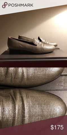 Stuart Weitzman Silver/Bronze Leather Loafers Stuart Weitzman Silver/Bronze Leather Loafers worn once! Perfect condition! Stuart Weitzman Shoes Flats & Loafers
