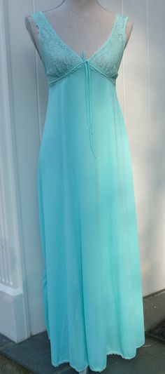 DrEaMy Vintage Nightgown Night Gown AQUA BLUE by AngelGrace, $24.99