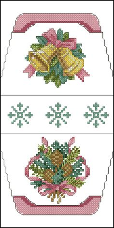 Cross-stitch Christmas Bells purse pattern... no color chart available, just use pattern chart as your color guide.. or choose your own colors..