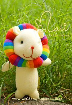 Mali Sock Doll  Lion  Rainbow Donut Lion yellow by malidolls OMG, SO cute