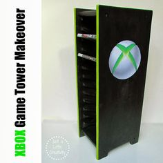 XBOX Game Storage Tower Before and After Makeover #diy #furniture #xbox