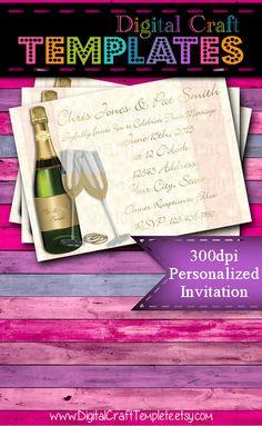Personalized Printable Invitations   Floral    Invitation   Wedding    #199