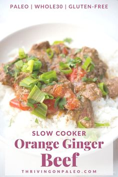 A delicious Asian take on slow cooker beef stew, this Orange Ginger Beef recipe is comforting and incredibly flavorful. It's also Paleo, Whole30, gluten-free, dairy-free, and SO much more fun than carrots and potatoes. Just sayin'. Healthy Beef Recipes, Gluten Free Vegetarian Recipes, Whole30 Recipes, Pork Recipes, Cooker Recipes, Real Food Recipes, Free Recipes, Ginger Beef, Slow Cooker Beef