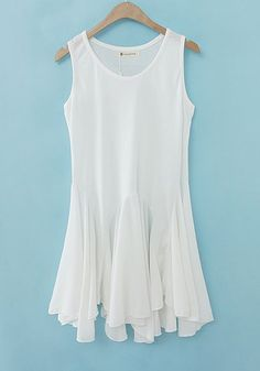 Gorgeous White Plain Round Neck Sleeveless Cotton Blend Dress! Love this design!  #white #Spring #Summer #fashion