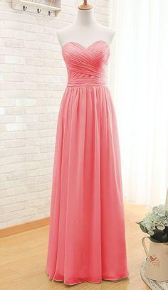 Watermelon sweetheart neck chiffon bridesmaid dress