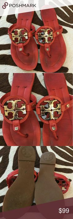 Tory Burch Miller 2 Red Leather Sandals Size 6.5 Minor minimal sign of wear consistent with use not seen while wearing. Please view my Closet for additional designer items including Tory Burch. Thank you. Tory Burch Shoes Sandals