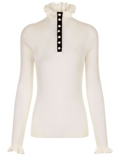 PHILOSOPHY DI LORENZO SERAFINI Cream Ribbed Ruffle Collar Knit. #philosophydilorenzoserafini #cloth #knit