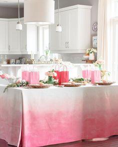 DIY pink ombre tablecloth