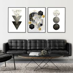 Set of 3 prints Geometric downloadable prints Black grey | Etsy Geometric Poster, Geometric Art, Grey And Gold, Black And White, Office Works, Bedroom Photos, Home Printers, Gold Walls, Wall Art Sets