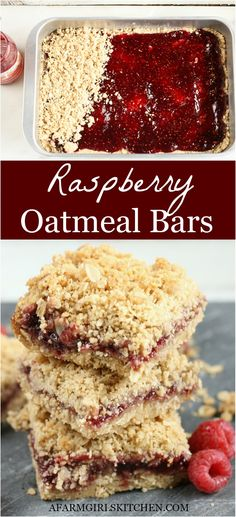 These homemade Raspberry Oatmeal Bars are probably one of the easiest dessert bars to make. Raspberry Bars are made with an oatmeal cookie base, store-bought or homemade raspberry jam, and oatmeal crumb topping. Raspberry Bars, Homemade Raspberry Jam, Raspberry Recipes, Raspberry Cookies, Mini Desserts, Easy Desserts, Homemade Desserts, Desserts With Raspberries, Cheesecake Strawberries