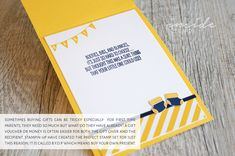 By Teneale Williams | Baby Boy welcome card with gift card pocket in Night Of Navy and Daffodil Delight | All materials from Stampin' Up! Something for Baby and B.Y.O.P Stamp sets
