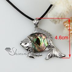 fish sea water rainbow abalone shell mother of pearl pendants leather necklaces jewelry wholesale