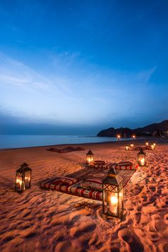 Al Bustan Palace, a Ritz-Carlton Hotel invites all to voyage to Muscat offering luxury accommodations and a prized location on the Sea of Oman. Places To Travel, Places To See, Vacation Destinations, Romantic Places, Beautiful Places, Beach At Night, Morocco Travel, Photos Voyages, Monument Valley