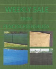 WEEKLY SALE are special item on sale for just limited time . Please see description on selection for type, color and size. THERE IS WITH BINDING AND GROMMETS AND WITH NO BINDING OR GROMMETS READ DESCRIPTION FOR TYPE AND BLOCKAGE. Privacy Fence Screen, Fence Screening, Fence Windscreen, Dog Kennel Cover, Early Black Friday, Only Sale, Weekly Specials, Medium Sized Dogs, The Selection