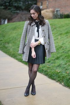 Bow Tie Blouse + Pleated Leather Skirt - Wellesley & King