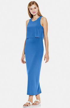 Vince Camuto Chiffon Overlay Jersey Maxi Dress rayon/spandex/poly classic blue 52.5L szXS 99.00