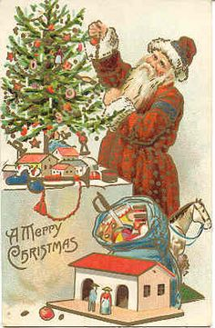 """""""A Merry Christmas"""". This original antique postcard is a woven silk postcard from my postcard collection. Santa is decorating a tree, and has a bag full of toys for some lucky girls and boys. Santa Claus Christmas Tree, Old Christmas, Old Fashioned Christmas, Victorian Christmas, Father Christmas, Christmas Tree Decorations, Christmas Crafts, Vintage Christmas Images, Christmas Pictures"""