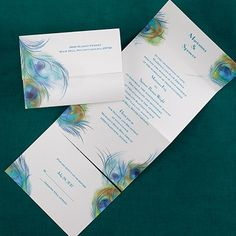 Peacock Profusion - Seal 'n Send - Wedding Invitation Ideas - Wedding Invites - Wedding Invitations - Create a FREE Proof Online - Order Sample Invitations #weddings #wedding #invitations
