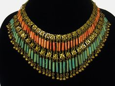 EGYPTIAN REVIVAL CORAL & Turquoise Faience Bib Necklace - Halloween Costume / Cosplay Piece