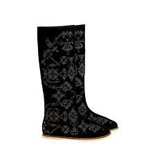 Beautiful RPR$320 Valenky WINTER FELT BOOTS Deco Black Russian Valenki snow veg