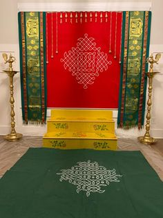 Painted kolam on a canvas cloth then stitched green shawl to go with it Housewarming Decorations, Diwali Decorations, Backdrop Decorations, Indian Wedding Decorations, Festival Decorations, Flower Decorations, Gauri Decoration, Mandir Decoration, Ganapati Decoration