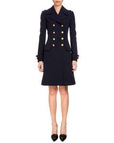W0CCQ Altuzarra Double-Breasted A-Line Wool Coat, Navy