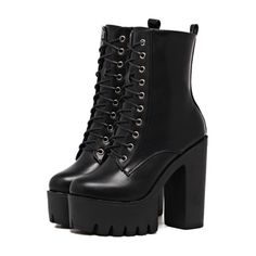 Designer Clothes, Shoes & Bags for Women High Platform Shoes, Black Platform Boots, Black High Heels, Black Ankle Boots, High Heel Boots, Shoe Boots, Shoes Heels, Cute Shoes, Me Too Shoes