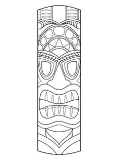 Tiki Mask coloring page from Masks category. Select from 22454 printable crafts of cartoons, nature, animals, Bible and many more.