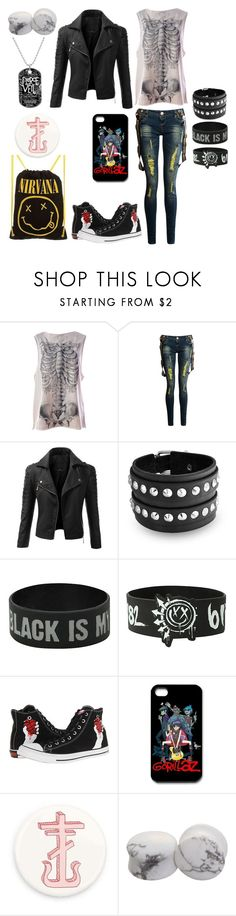 """Untitled #475"" by alexandria-wolf-palayeroyale ❤ liked on Polyvore featuring Iron Fist, Doublju, Bling Jewelry, Hot Topic, Converse and Paul Frank"