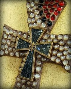 Decorative cross mosaic cross beaded cross wall by CrossFrenzy, via Etsy.