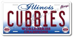 Chicago Illinois Cubs CUBBIES World Series Champions Baseball License Plate   #ChicagoCubs