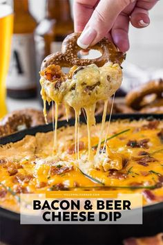 Hot Bacon Beer Cheese Dip is baked with flavorful cheeses, crisp bacon and your favorite lager. Serve with hard or soft preztels, bread or veggies. Bacon Cheese Dips, Bacon Beer, Bacon Appetizers, Appetizer Dips, Appetizer Recipes, Appetizer Dessert, Cheese Toast, Nacho Dip, Dip Recipes