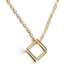 Cube Necklace - Brass
