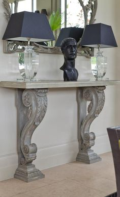 Striking hand-made Italian conservatory console table. Conservatory Lighting, Conservatory Interiors, Conservatory Furniture, Refurbished Furniture, Console Table, Hand Carved, Entryway Tables, Carving, Wood Glass