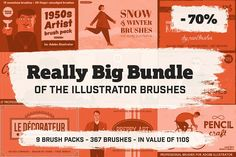 Big Bundle of Illustrator Brushes by Guerillacraft on @creativemarket