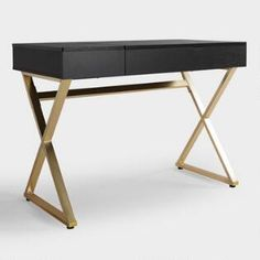 Cost Plus World Market Black Wood and Metal Mara Vanity Desk Small Home Offices, Home Office Desks, Home Office Furniture, Office Decor, Furniture Sets, Black Wood, Wood And Metal, Tidy Room, Bedroom Desk