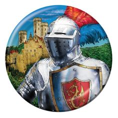 Knight Dessert Plates (8) : Valiant Knight Lunch Plates (8)  This set of luncheon size plates are perfect for snacks and cake or dessert, and will perfectly suit your medieval theme