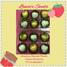Strawberry Cheesecake Chocolate Covered Strawberries (1/2 in edible  gold). Louise's Sweets 6249 Coffman Rd Indianapolis, IN 46268 317-644-0898 www.louises-sweets.com #louisessweets #chocolatecoveredstrawberries #indianapolis