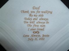 Wedding Father Dad Father in law Custom Personalized Embroidered HANDKERCHIEF Hanky. $30.00, via Etsy.