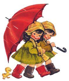 Enfants sous un parapluie - image png